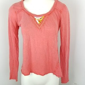 Free People Sz S Long Sleeve Coral Red Beaded Neck
